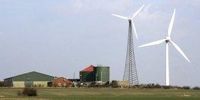 Biogas und Windkraftanlage