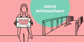 Junge Frau mit Schild für Foto-Aktion vor kaputter Brücke